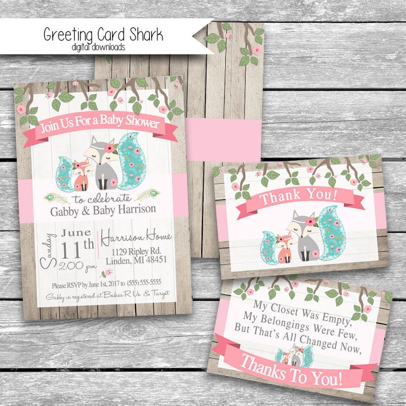 5x7 Customized Baby Shower Invitation Front, Back & Thank You Card ...