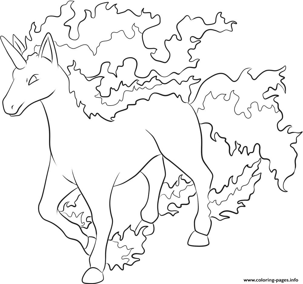 print 078 rapidash pokemon coloring pages