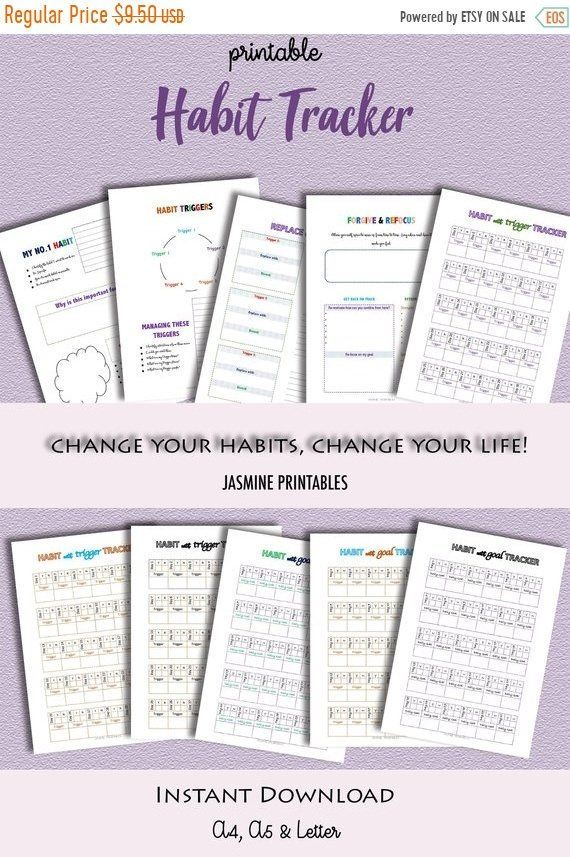 habit tracker printable daily habits planner planner inserts a5