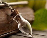 Wish   Wish Bottle Necklace , Real Dandelion Seeds,water Drop Bottle Irish Botanical Pendant ,real Dandelion Necklace    151-13-00476 (Size: 0, Color: Multicolor)