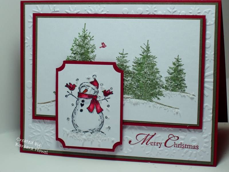 Stamps:Scenic scene, A cardinal Christmas for the greeting and Holiday tag team for the snowman. Paper: cherry cobbler, always artichoke and white. Ink: always artichoke, wild wasabi, cherry cobbler and black.