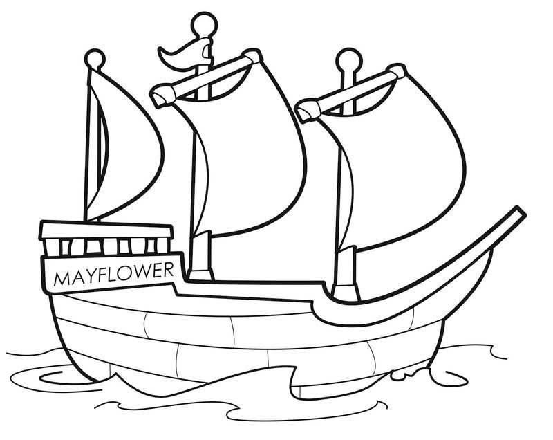 Pilgims On The Mayflower Coloring Page Thanksgiving Coloring