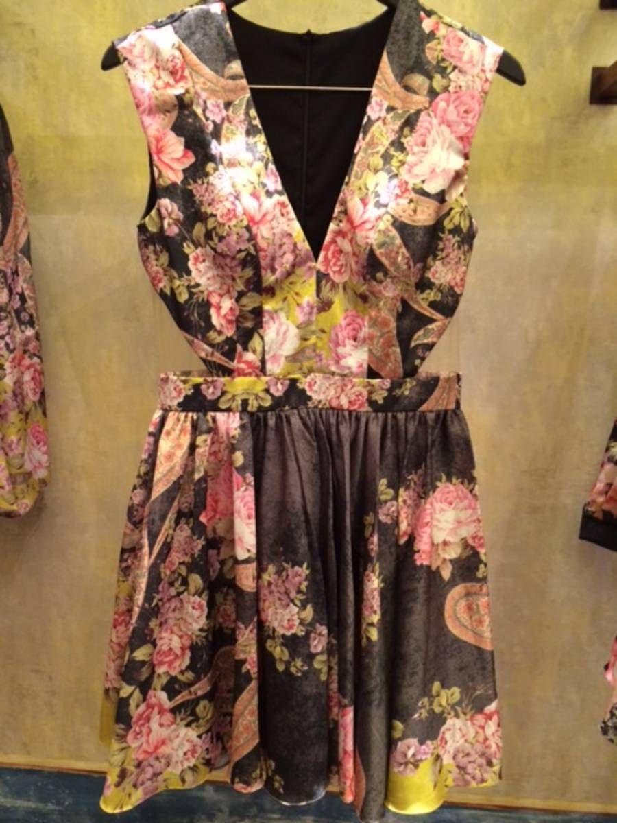 vestido curto de seda pat bo - estampado - vestidos de festa pat bo