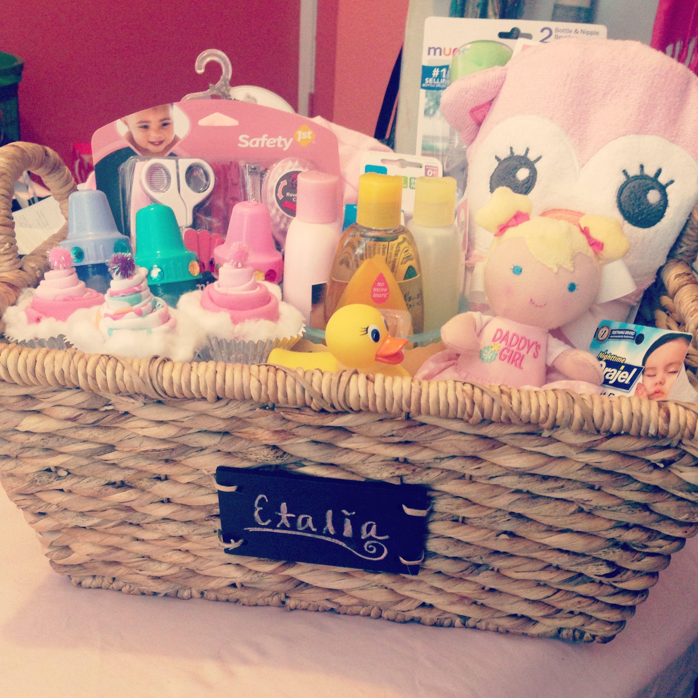 Baby Shower Basket Gift Idea For Girl #babygiftbaskets
