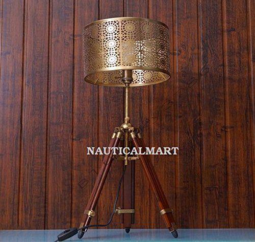 Nauticalmart Vintage Brass Finish Teak Wood Tripod Table Https Www Dp B01fx9dmkw Ref Cm Sw R Pi Dp X Tripod Floor Lamps Tripod Table Teak Wood
