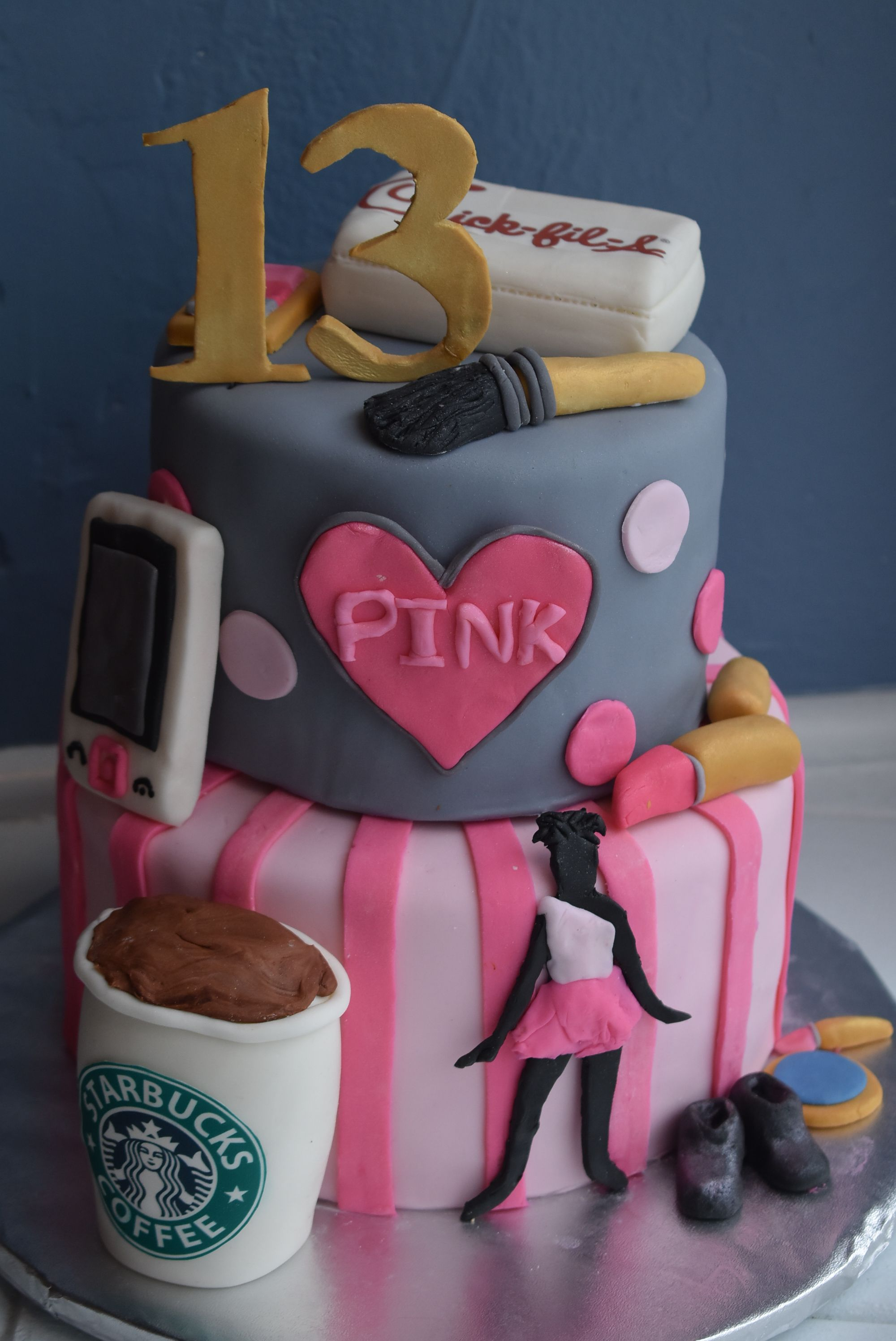 Incredible 13 Birthday Cake With Starbucks Chickfila Pink Dance And Makeup Personalised Birthday Cards Veneteletsinfo