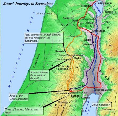 A map of the various routes Jesus took on His journeys to