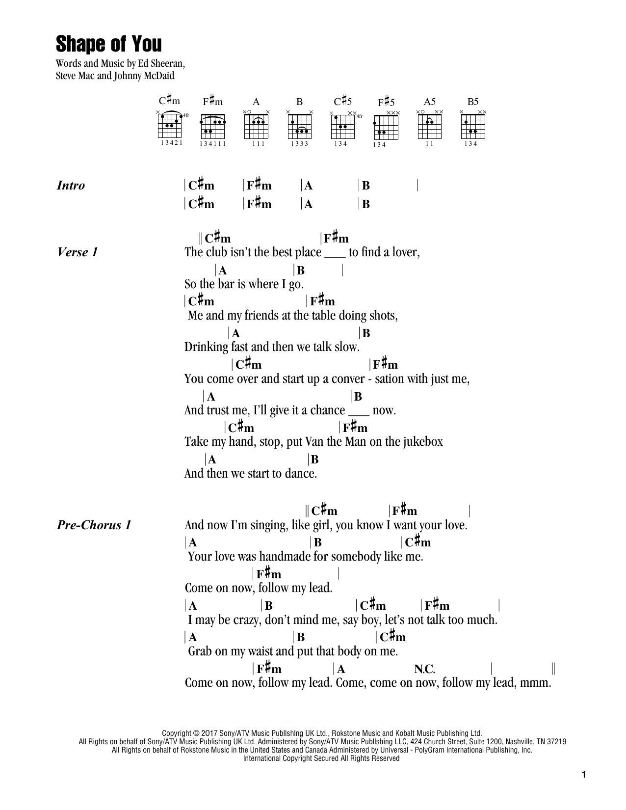 Shape Of You By Ed Sheeran Guitar Chords Lyrics Digital Sheet Music Guitar Chords Lyrics Ukulele Songs Shape Of You