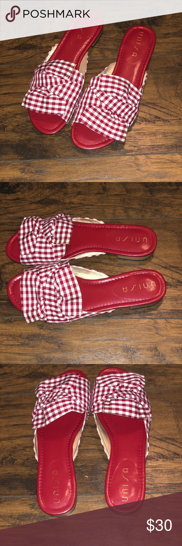 Unisa Red Checkered Sandals Unisa Red Checkered Sandals Brand New In Box Sz 9 1 2 Unisa Shoes Sandals With Images Red Checkered Sandals Brands Unisa