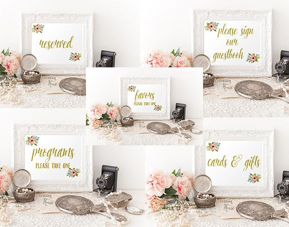 printable gold wedding signs bundle 5x7 gold reserved sign please