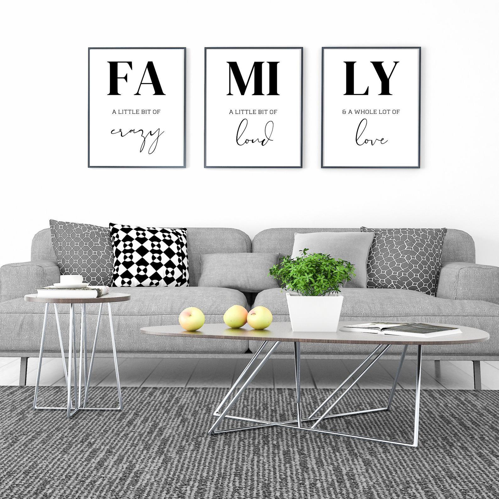 Family Sign Family Definition Family Quote 3 Piece Wall Art Etsy Etsy Wall Art Wall Decor Printables Minimalist Wall Art