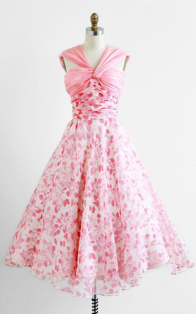r e s e r v e d - vintage 1950s dress / 50s dress / Pink and White ...