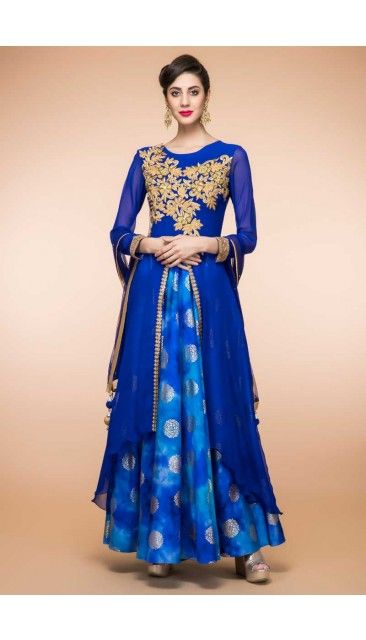 9c6f1aa1810 Blue Silk And Dupion Anarkali Suit With Dupatta - 1844 http   www.