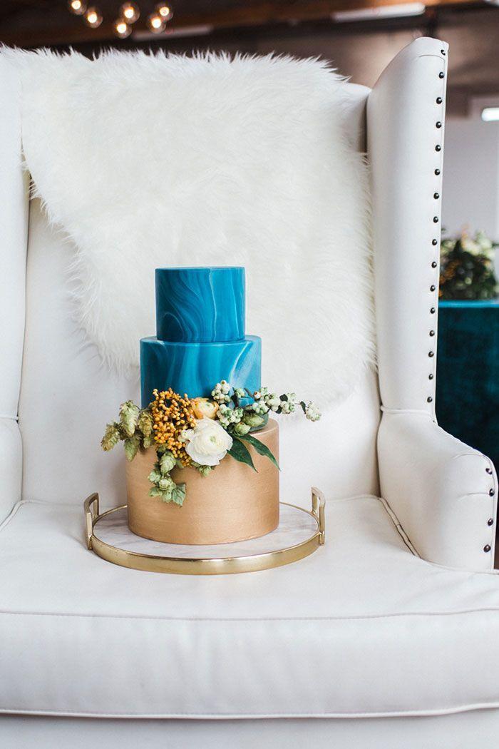 Modern Teal And Orange Wedding Inspiration Marble Gold Cake