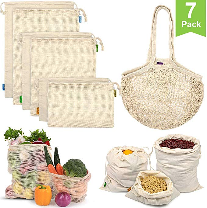 Amazon Com Reusable Produce Bags Organic Cotton Mesh Bags Muslin Bags With Drawstring Bonus Reusable Grocery Bag Reusable Produce Bags Produce Bags Mesh Bag