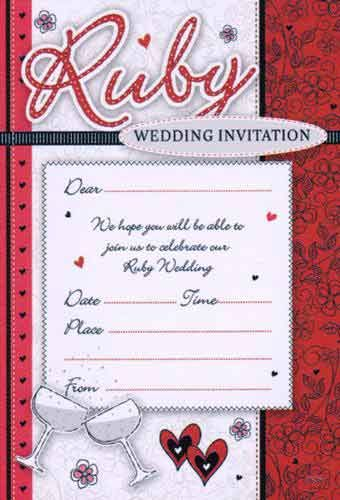 Ruby wedding anniversary invitations glasses anniversaries 40th anniversary party ideas availability stopboris Images