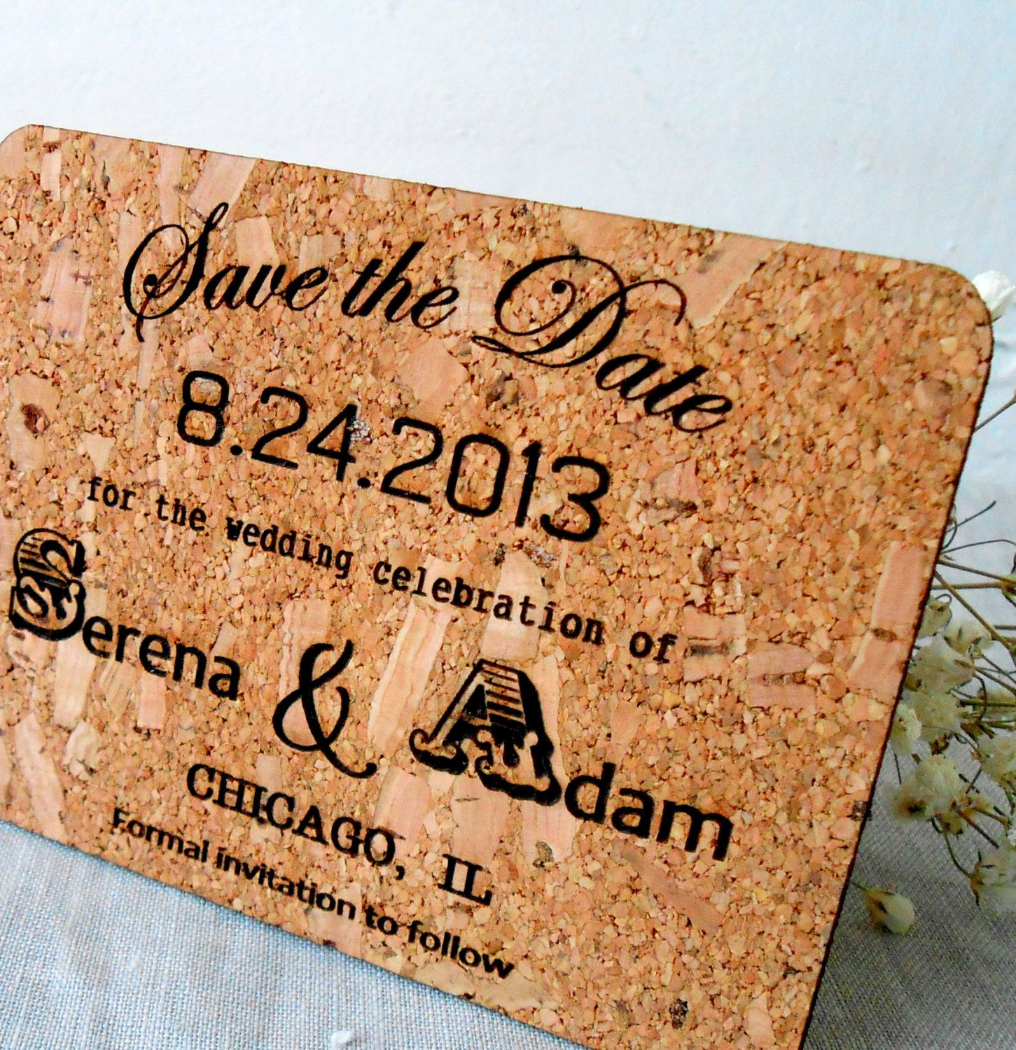 Cork Save the Date Cards - Rustic Wedding Cards - All Natural Eco ...