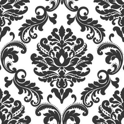 Nuwallpaper Ariel Black And White Damask Vinyl Strippable Wallpaper Covers 30 75 Sq Ft Nu1646 The Home Depot Peel And Stick Wallpaper Damask Wallpaper Nuwallpaper