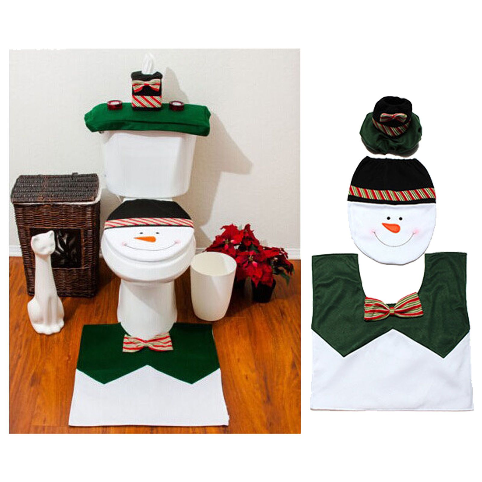 Toilet Seat Lid Tissue Box Cover Christmas Rug Bathroom Set Snowman Buckle Y
