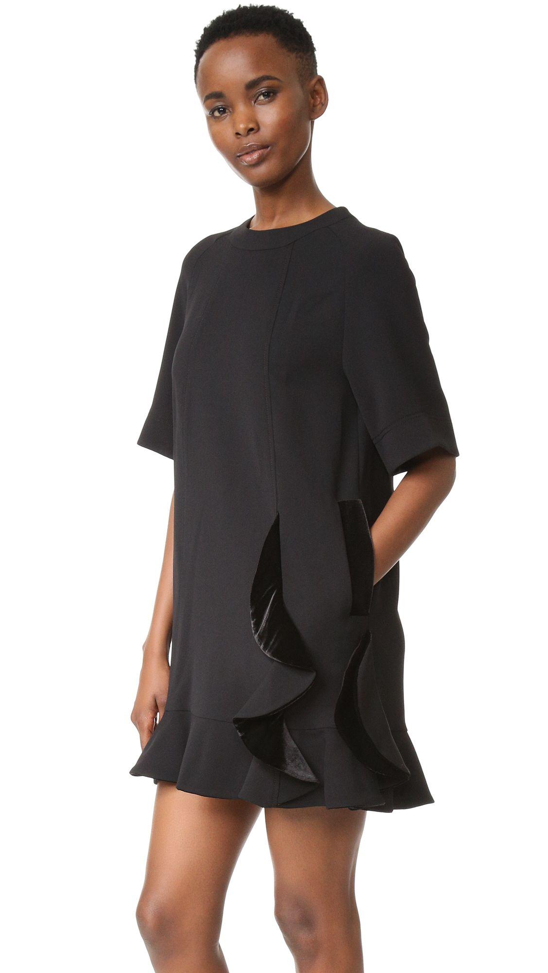 SJYP - Velvet Detail Shirring Dress