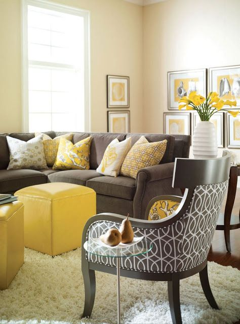 Cream Yellow And Dove Grey Color Pallete Soft Gold On The Walls Gray Sofa Accents In