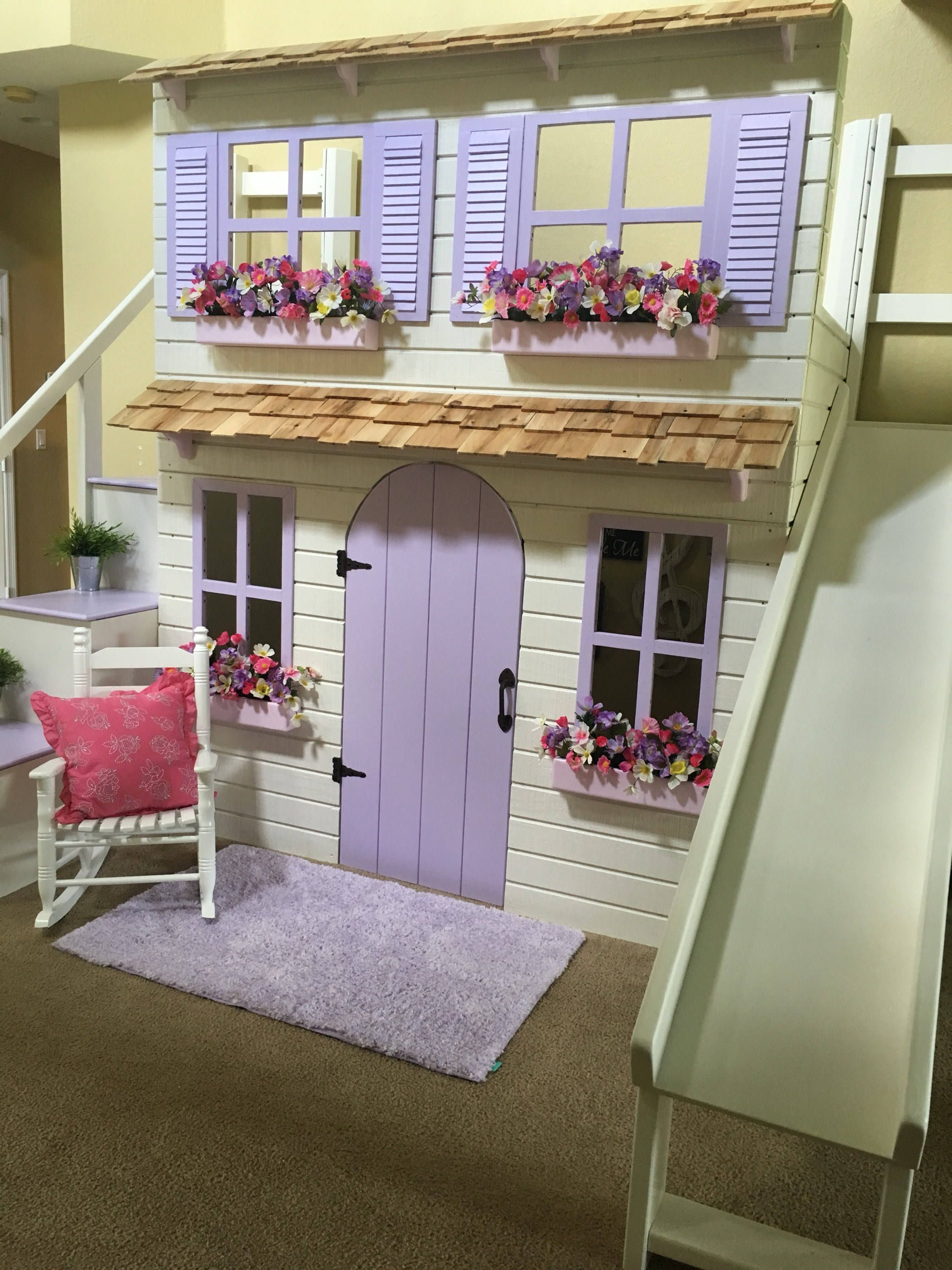 Layla S Dollhouse Loft Bed Play Area Underneath Options Include Bunk Bed Version Storage Trundle Slide Stairs W Built In Storage With Images Bunk Beds With Stairs Dreams Beds Twin Size Loft