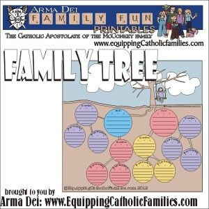 family tree printables black and white and full color free