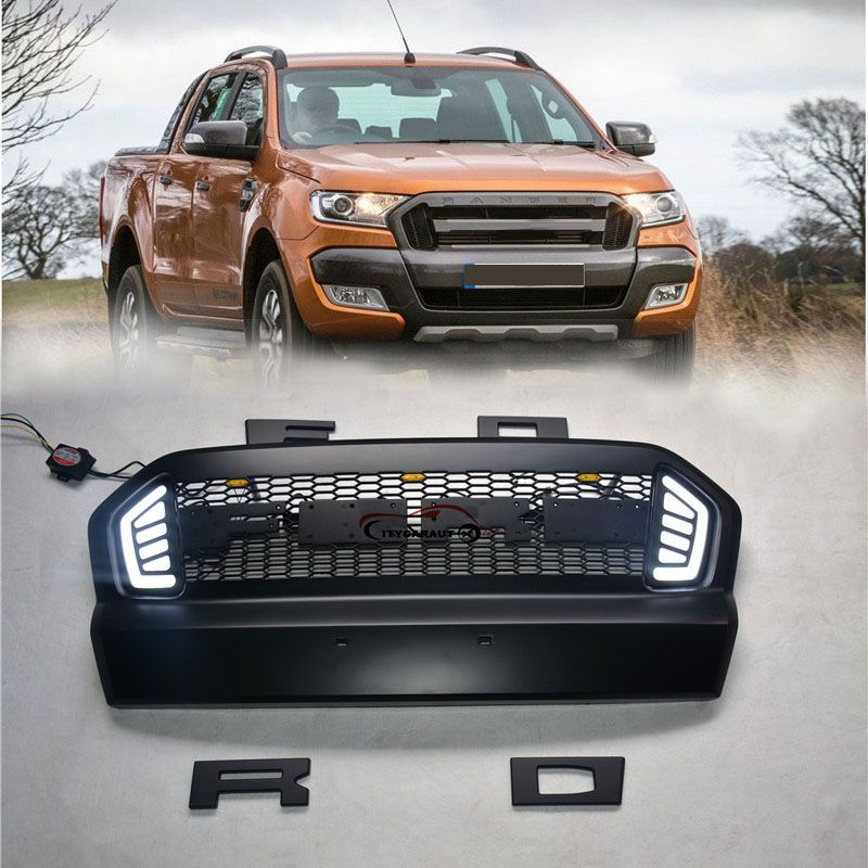For 2015 2016 2017 Ford Ranger Abs Grille With Led Black Front
