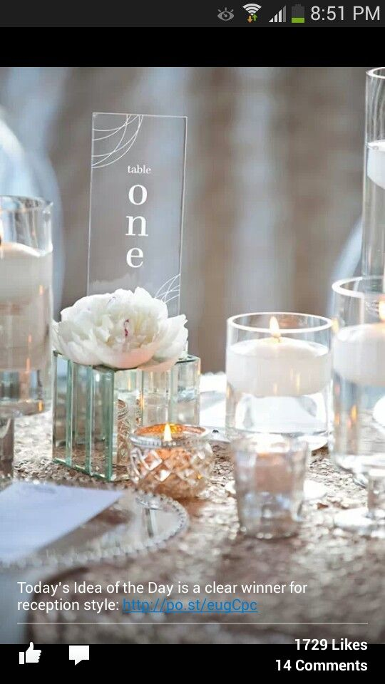 Wedding Planners clear Lucite table numbers