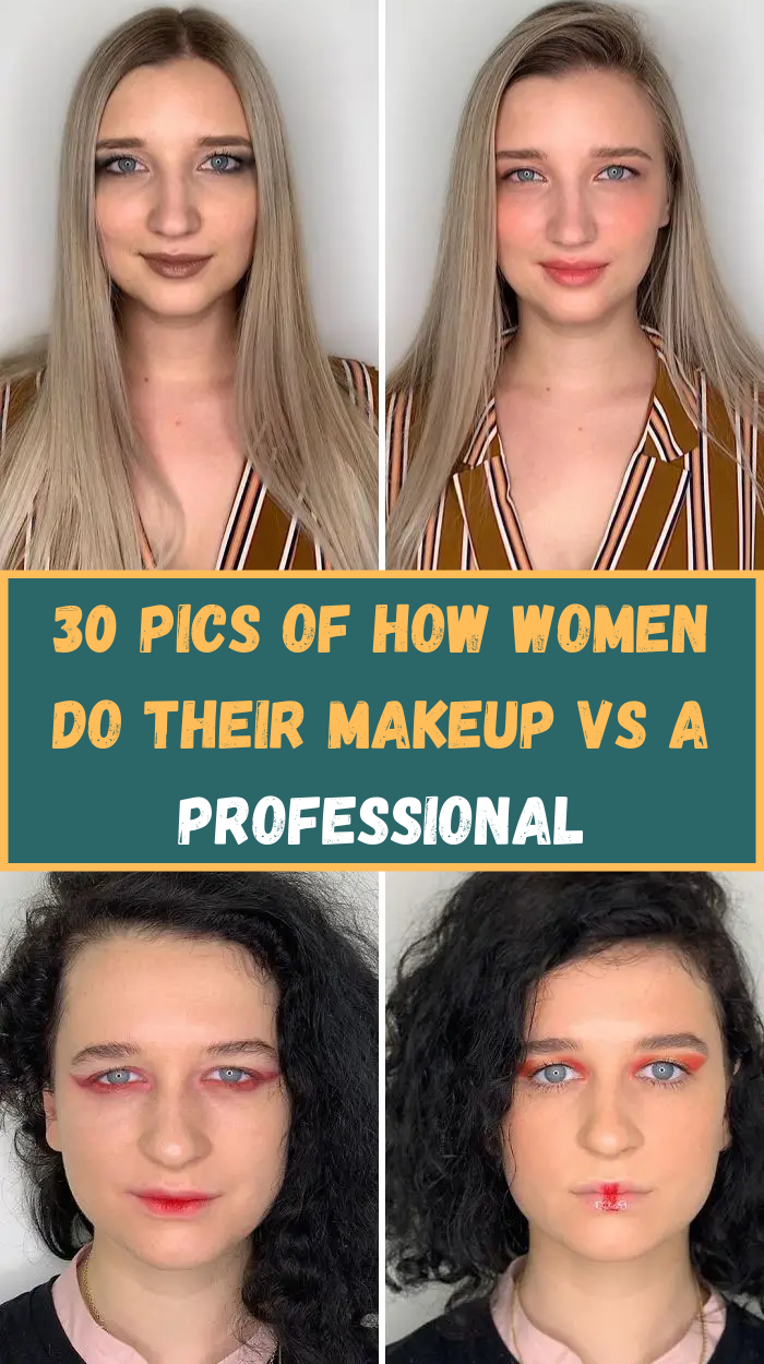 30 Pics Of How Women Do Their Makeup Vs A Professional In 2020 Makeup Putting On Makeup Lots Of Makeup