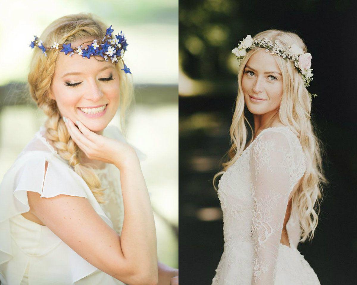 flower crown hochzeit frisuren diesen sommer zu heiraten #
