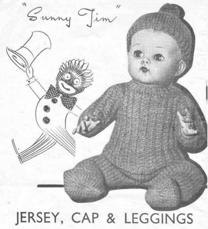 Vintage knitting pattern for boy dolls reborns Sunny Jim 10 16 26 ...