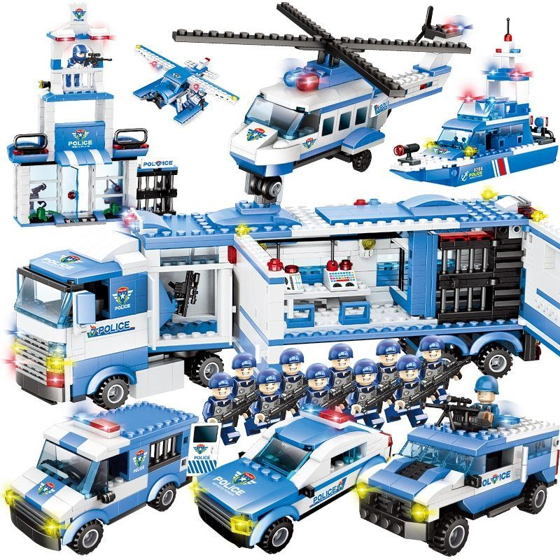City Police Series 8 In 1 6 In 1 Vehicle Car Helicopter Police Station Building Blocks Diy Bricks Compatible With Lego Lego Mstiteli Lego Mstiteli