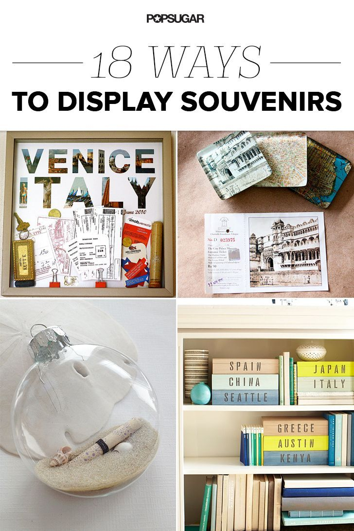 18 Ideas to Organize and Display Travel Mementos With Style. Two trips to New Zealand, one to Germany, Alaska, Napa, road trip down the eastern seaboard, and not to mention our upcoming cross country drive this would be a great way to get clutter out of boxes and display some memories.