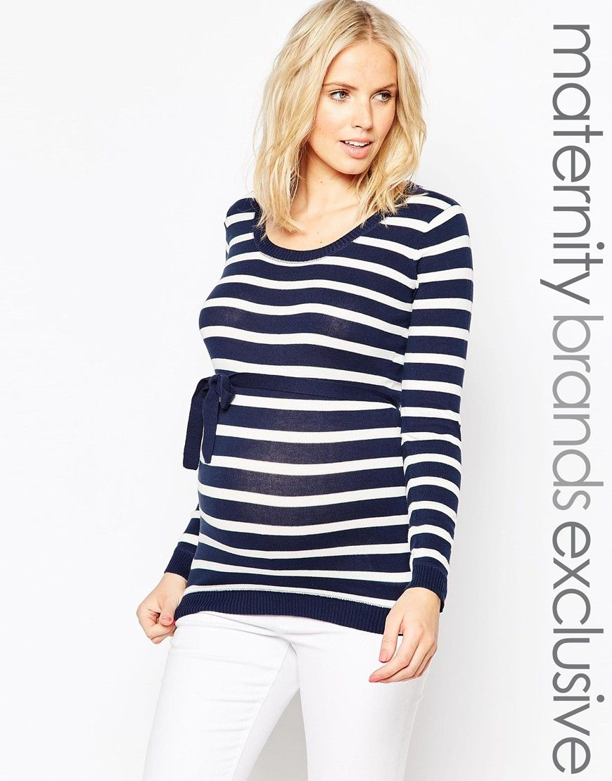 Mamalicious Striped Knitted Top With Tie Waist