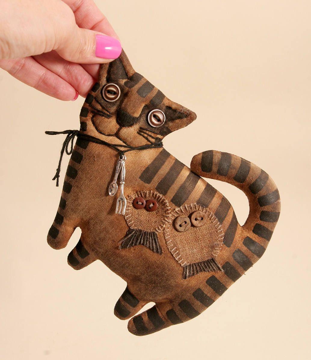 Primitive Cat Lover Gift Folk Art Textile doll Primitive