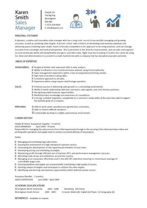 Sales Manager CV example, free CV template, sales management jobs