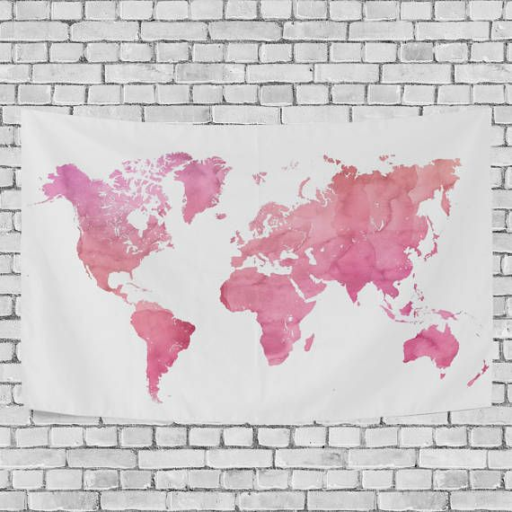 Pink Watercolor World Map Tapestry Abstract Splatter Painting Wall ...