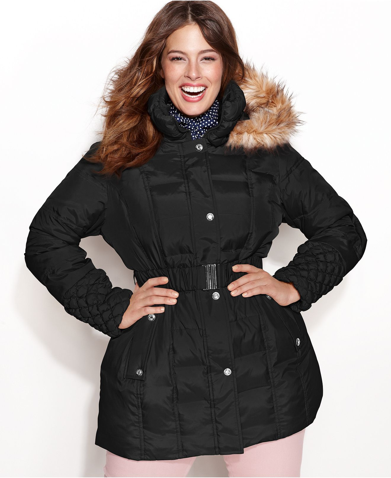 betsey johnson plus size coat, faux-fur-trim hooded quilted puffer