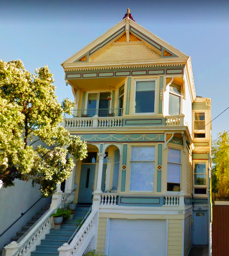 Gorgeous Golden Yellow And Pastel Mint Green Victorian Painted Lady House In San Francisco C Painted Lady House Victorian Homes San Francisco Victorian Houses