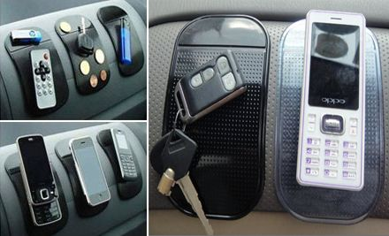 "Cool!  ""Sticky"" pads (but not sticky) for your car to hold your phone, change, sunglasses, whatever!  You get 4 for $12."
