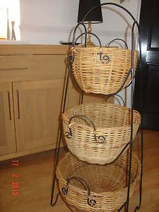 3 Tier Fruit Basket Stand Wicker Kitchen Vegetable Storage Rack