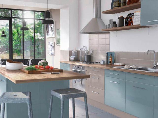cuisine bleu pale cuisine pinterest kitchens. Black Bedroom Furniture Sets. Home Design Ideas