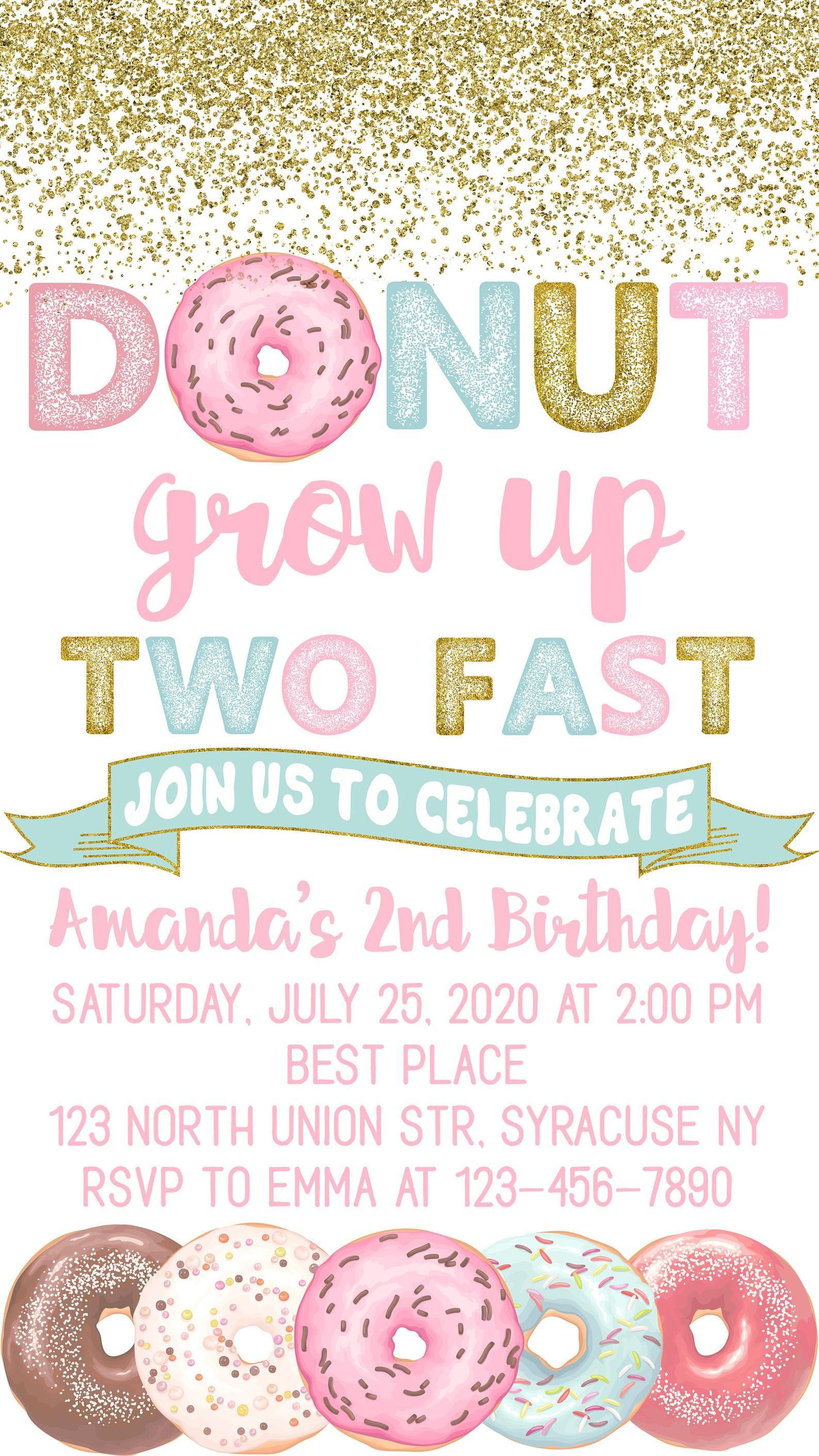 Electronic Donut Grow Up Two Fast Birthday Invitation Donut Birthday Party Invitation For Iphone Smartphone Digital File E011 Donut Birthday Party Invitations 2nd Birthday Party For Girl Girls Birthday Party Themes