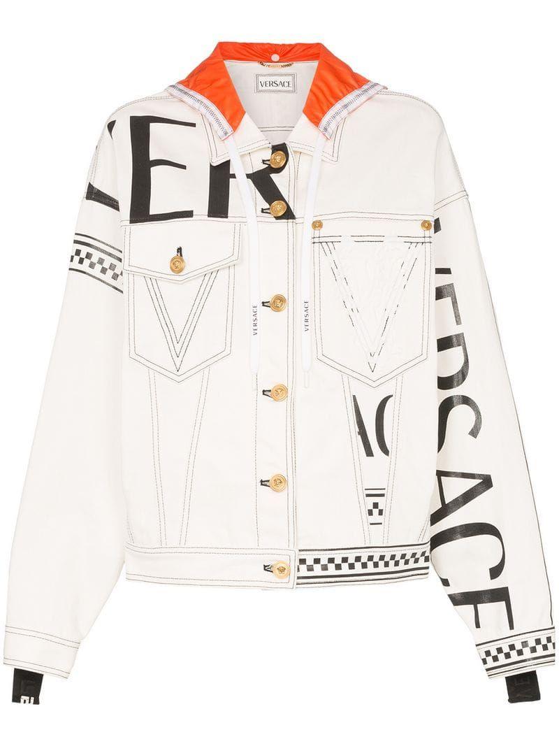 Versace Love From Donatella Print Denim Jacket Farfetch In 2020 Printed Denim Jacket Printed Denim Long Sleeve Denim Jacket