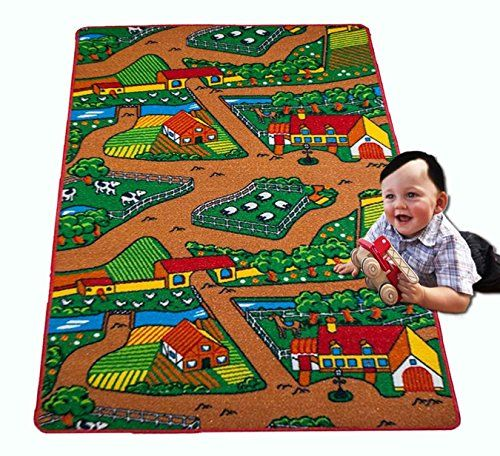 Kids Rug Farm Area Rug 3 X 5 Children Area Rug For Playroom Nursery Non Skid Gel Backing 39 X 58 Visit The Image Link Kids Rugs Play Rug Kids Puzzle Mat