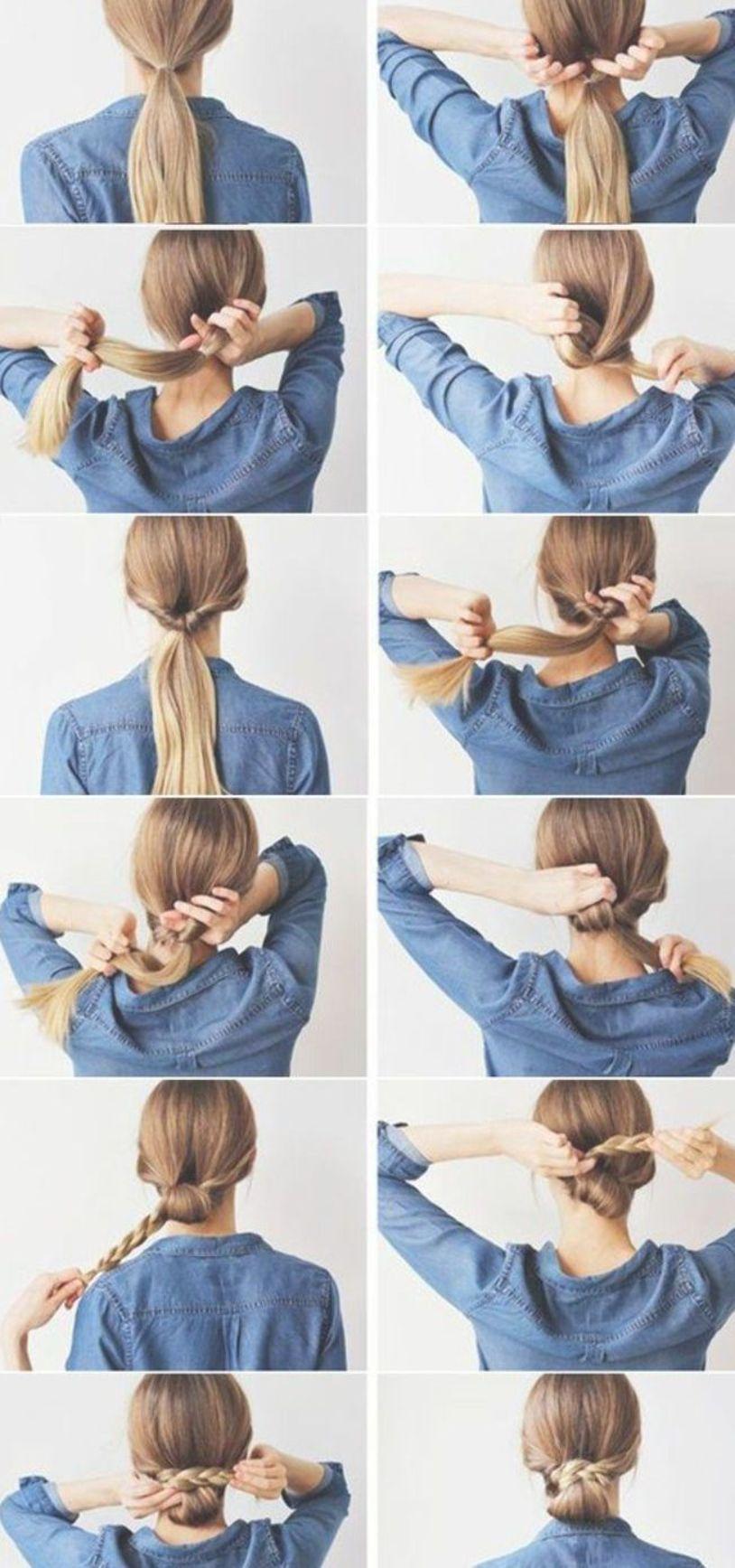 Great Idea For A Simple But Super Nice Hairstyle Simple Dress Ha Dress Great Ha Hairstyle Low Bun Hairstyles Braided Bun Styles Hair Diy Tutorial