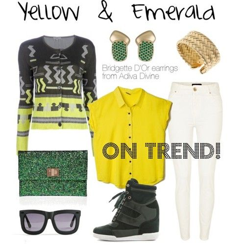 Yellow & Emerald Summer Chic featuring Bridgette D'Or earrings from Adiva Divine, and the so on-trend sneaker wedges!