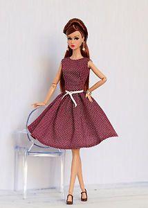 Vinous-polka-dot-dress-for-Nu-face-Poppy-Parker-Barbie-by-Olgaomi