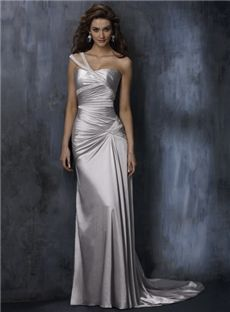 Gray A Line One Shoulder casual Wedding Dresses Chapel Train beautiful